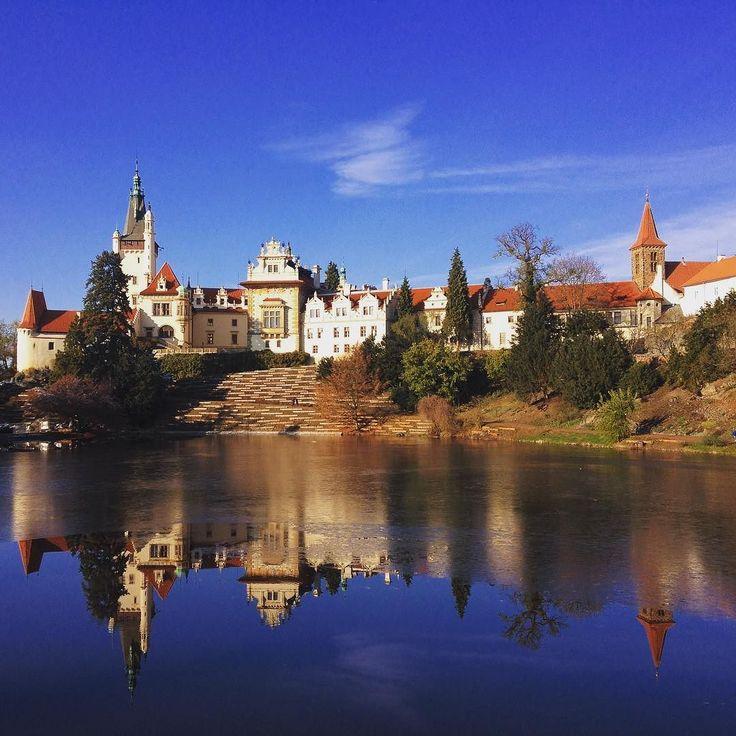 Průhonický zámek s již částečně zamrzlým rybníkem. Mrazivo ale slunečno:) #walk #travelling #traveling #instaphoto #instatravel  #pruhonickypark #rybnik #podzim #autumn #fall #pond #castle #freezing #cold #nature #beauty #sbatuzkem #cestovani #dnescestujem #vylet #pruhonickyzamek #ceskarepublika #czechrepublic