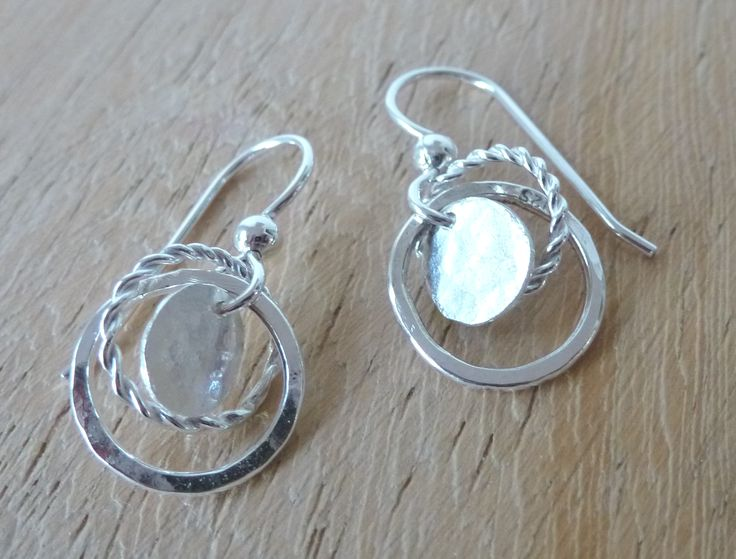 mini circle earrings with battered and twisted wire hoops and battered discs