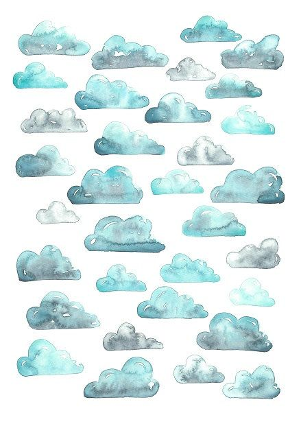 This listing is for an abstract watercolor art print, a lovely way to style a room!    The print is an abstract representation of clouds in the