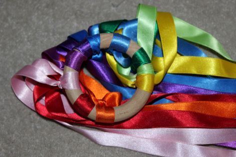 DIY Rainbow Ribbon Ring - sensory play, toddler & baby. For use with Treasure Baskets and Heuristic Play