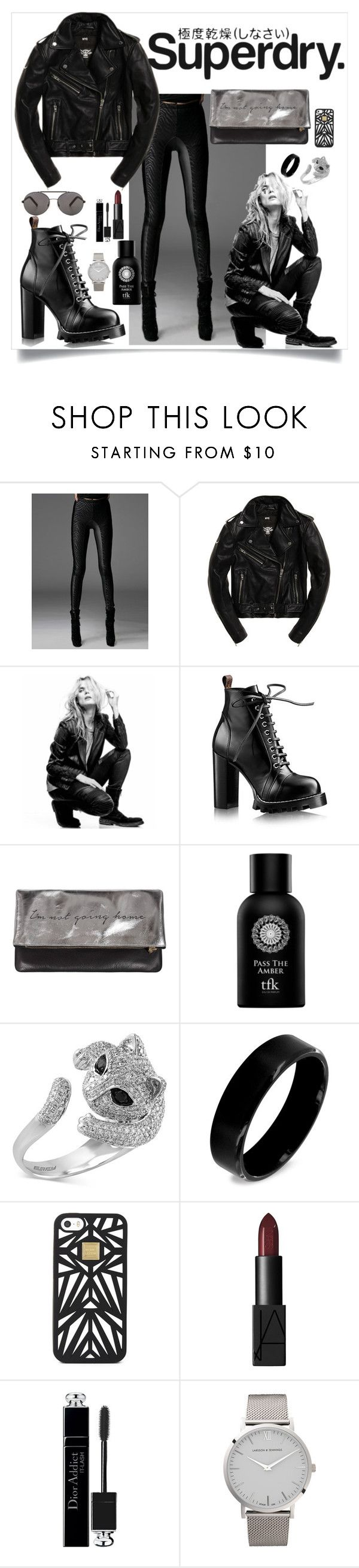 """""""Superdry. the Leather"""" by st-rose93 ❤ liked on Polyvore featuring Superdry, Superfine, Sarah Baily, The Fragrance Kitchen, Effy Jewelry, West Coast Jewelry, Hervé Léger, NARS Cosmetics, Christian Dior and Larsson & Jennings"""