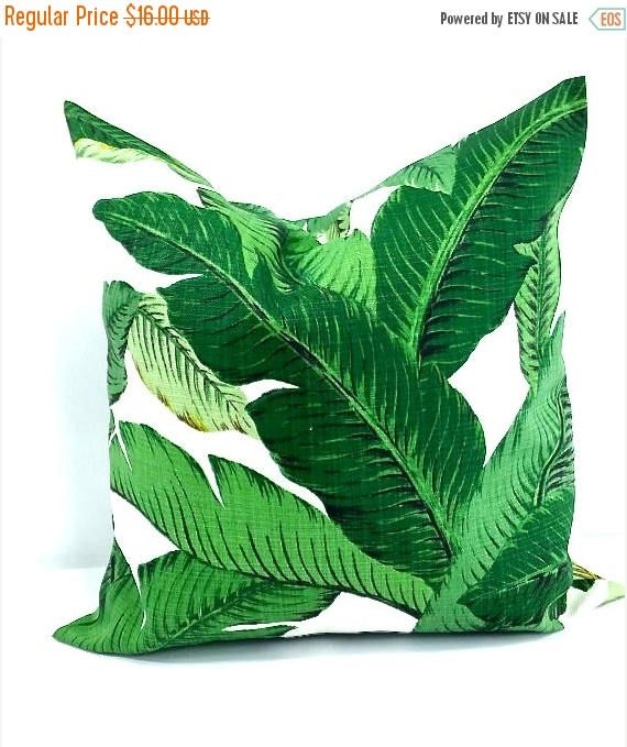 SALE Palm Pillow cover. 16x16 Green Pillow Cover. Indoor