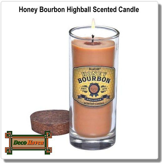 Honey Bourbon Highball Scented Candle  - No need to be over 21! Our honey bourbon-scented Highball Candle will delight your nose, not your palate. It might look like the popular whiskey, given its rich brown color, but that' where the similarities end. It's honey bourbon scent opens with orange marmalade, tamarind, and honey, which are infused with bourbon, coumarin, and clove, and layered by brown sugar and tobacco. Cheers to all!