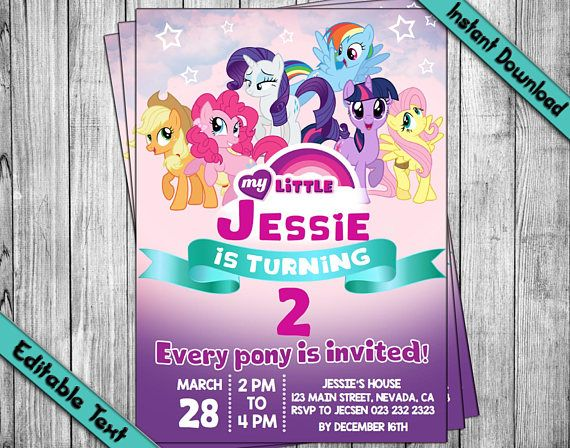 Instantly Download Edit And Print This My Little Pony Invitation Our Diy Editable Pdf Template S Are Easy My Little Pony Invitations Pony Party Invitations