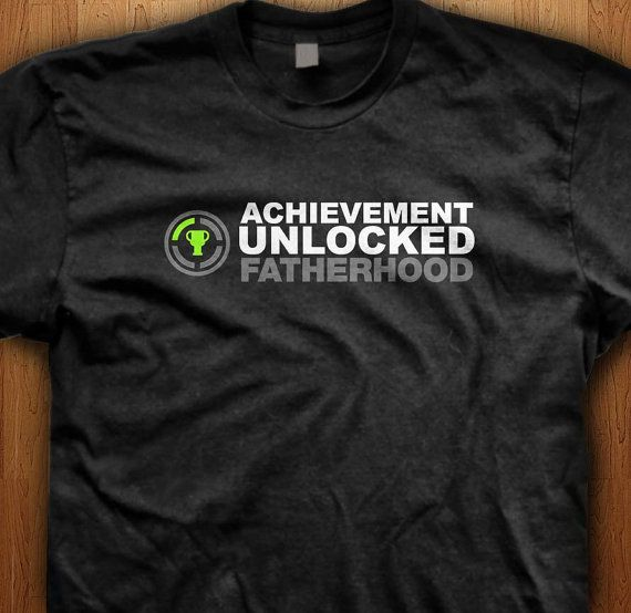Achievement Unlocked Fatherhood Shirt New baby Surprise Tee Announcement Pregnant New Dad Gift Daddy Father Gift Idea Papa Geek Video Games