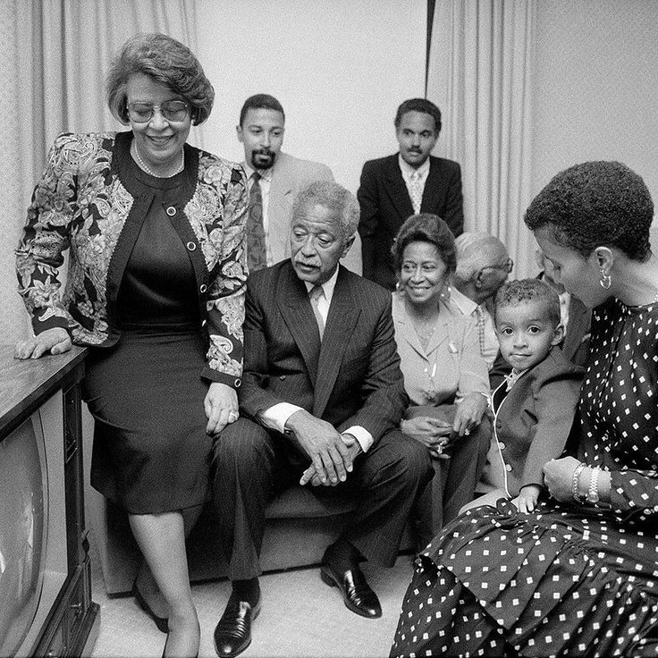 The moment in 1989 when David Dinkins learned that he would win the Democratic nomination paving the way for him to become New York Citys first black mayor. In the photo taken on September 12 1989 by the @nytimes staff photographer Chester Higgins Jr. Dinkins is pictured sitting calmlyon a sofa in a hotel room with his excited wife daughter and son and their families. I was the only media photographer allowed to witness Mr. Dinkins at the crucial moment when the final primary results were…