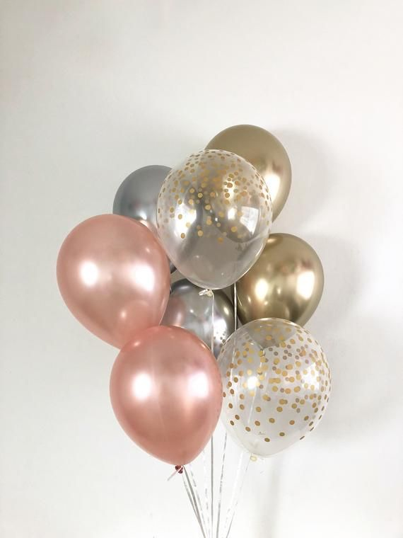 Rose Gold Silver Gold Balloons Gold Confetti Balloons Rose Gold