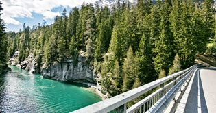 On the way to Viamala Canyon located in Canton Graubünden. View from bridge over Sufner lake.