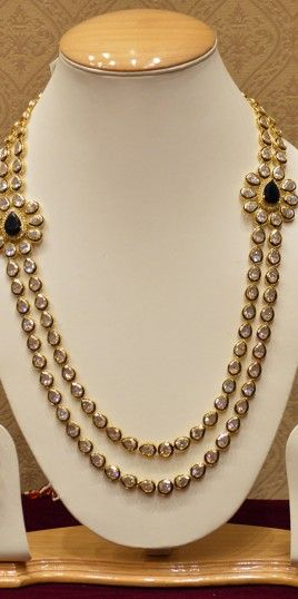 Two Line Kundan Necklace Set With Studded Diamonds For Women