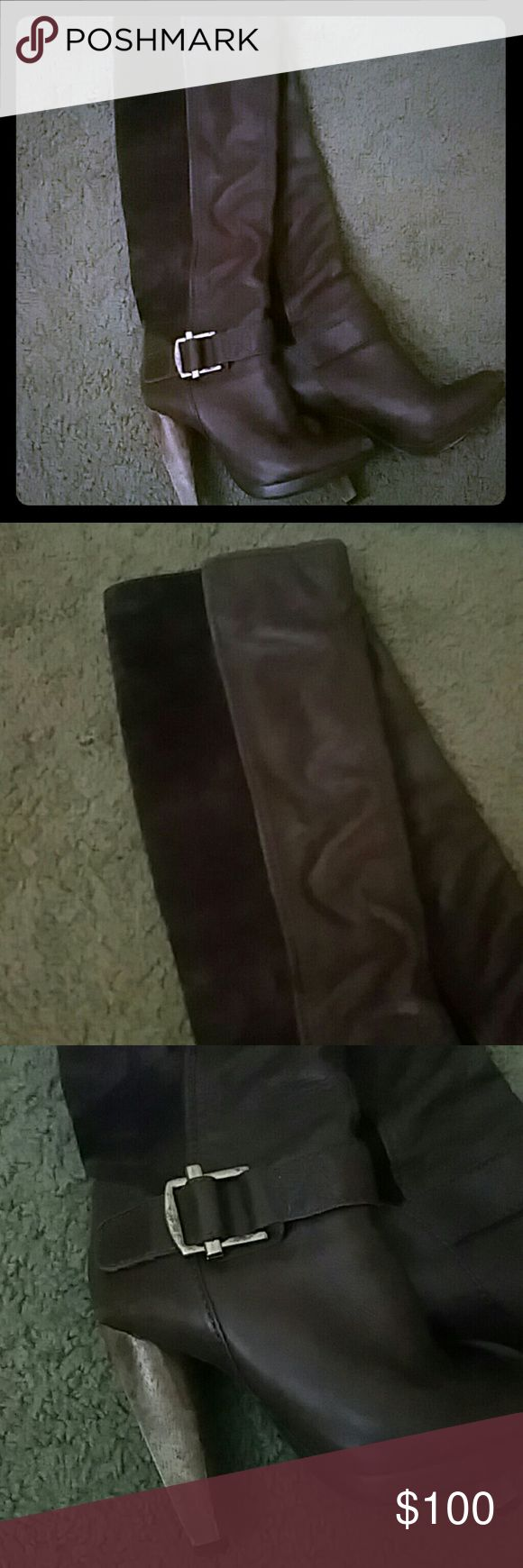 Beautiful chocolate brown boots Beautiful chocolate brown boots from French Connection. All leather, suede half on back. Gold buckle on side with wood heels. In very good condition, just a little scuff on point round toes. French Connection Shoes Heeled Boots