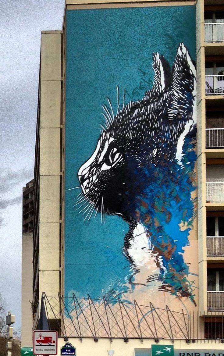 """ღღ """"C215"""" New Mural in Paris ~~While you last heard from him last week in Haiti (covered), C215 is now back in France where he spent the day working on the streets of Paris.  40 liters of acrylic and a hundred cans were used by the Parisian artist to paint this massive stencil of a cat.  If you stop by Paris, you'll be able to find this one on 141 Boulevard Vincent Auriol, Paris 13th.  Check back with us soon for more street art updates from Paris..."""
