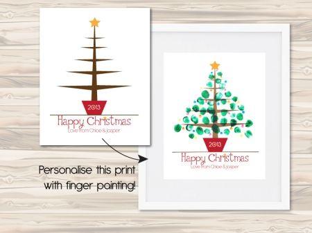 Personalised finger-painted Christmas tree print - hardtofind.