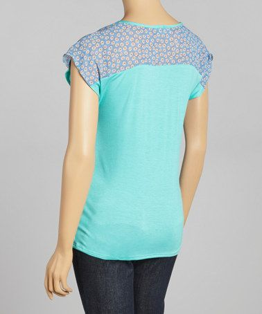 Love this Seafoam Floral Maternity Short-Sleeve Top by Due Time Maternity on #zulily! #zulilyfinds