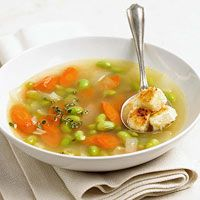 Edamame Soup with Feta Croutons | Recipe