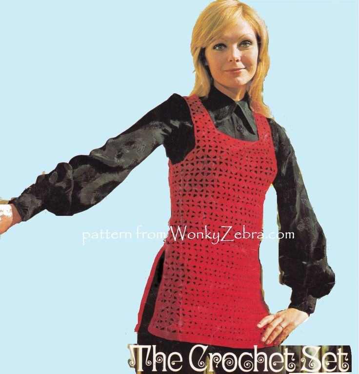 WZ850 pretty split sided tank top crochet tunic to make;and it's a nice stitch pattern texture for anything! PDF from WonkyZebra.com vintage Lister N2312