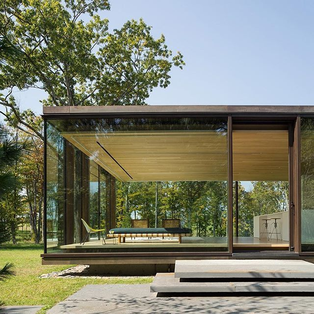 Here's another image of the glass and steel home in rural New York designed by US firm Desai Chia Architecture. Let us know what you think of the project in the comments section below and read the full story on dezeen.com/usa #architecture #USA #NewYork