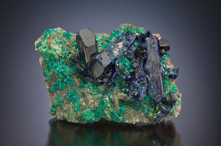 Azurite, (w. Dioptase)