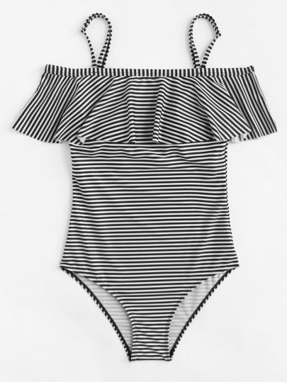 1e7f5261ba Shop Cold Shoulder Flounce Striped Swimsuit online. SheIn offers Cold  Shoulder Flounce Striped Swimsuit & more to fit your fashionable needs.