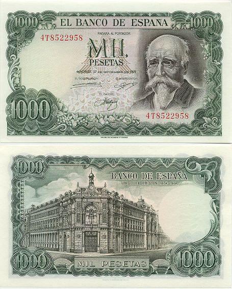 Spain 1000 Pesetas 17.9.1971 (Echegaray, Bank)