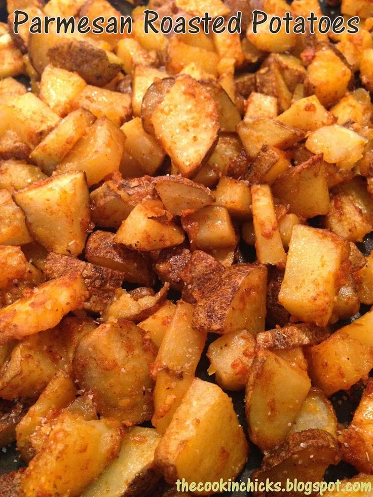 5-6 medium sized Russet or red potatoes (skins on, scrubbed, and diced) 3 tbsp olive oil 1/4 cup grated Parmesan cheese 1 1/2 tsp Paprika 1 tsp garlic powder 1 tsp salt 1/2 tsp black pepper
