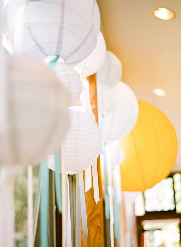 pretty idea with streamers and lanterns. could be a great centerpiece over the dessert table.