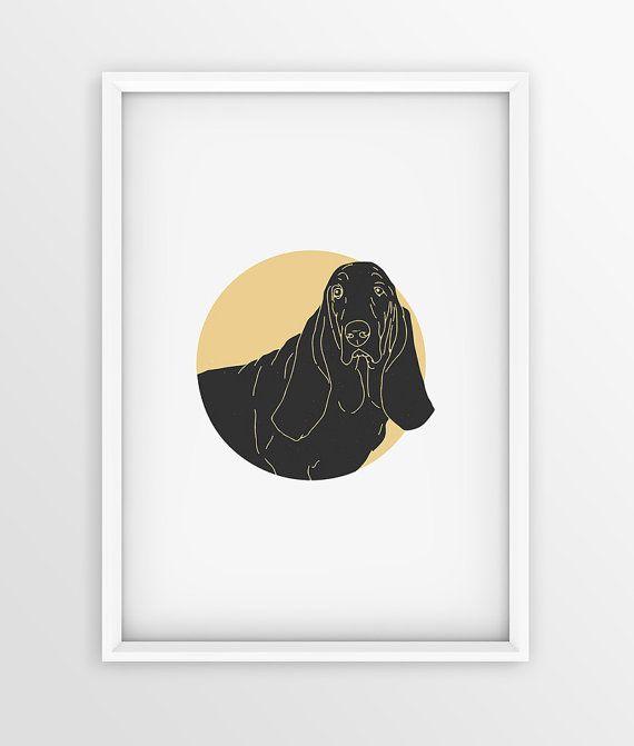 Vintage Basset Hound Dog Prints Dog Printable by seaquintdesign