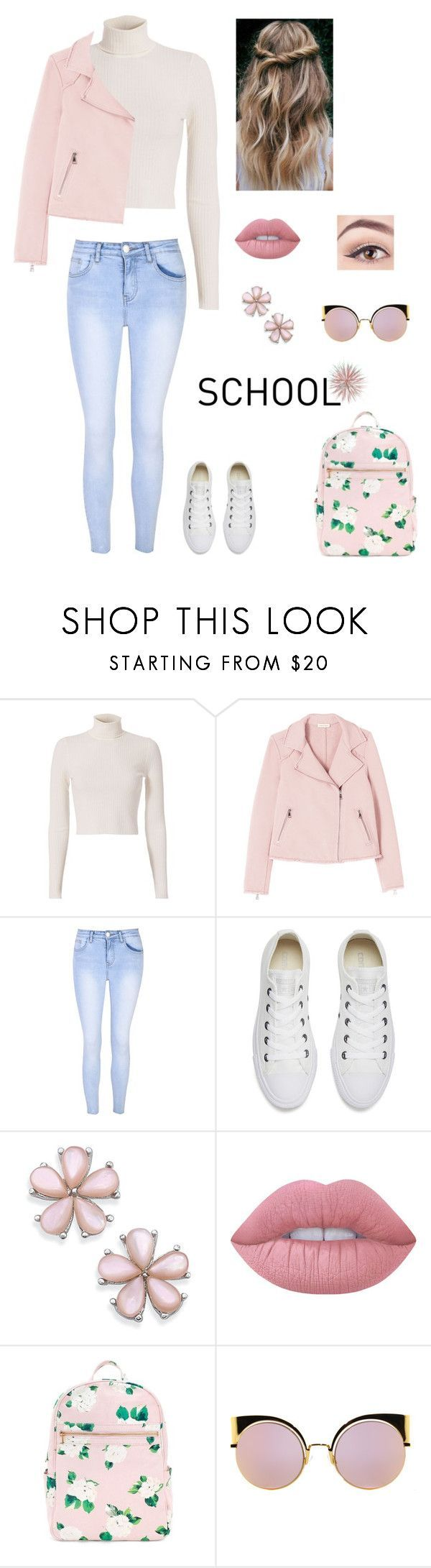 """""""School"""" by directionerand5sosfan ❤ liked on Polyvore featuring A.L.C., Glamorous, Converse, Lime Crime and Fendi"""