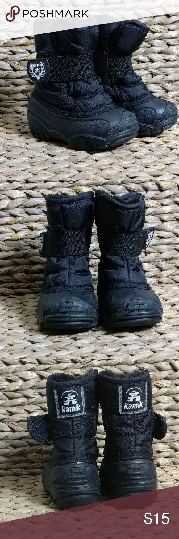 "Kamik Boys Snow Boots Toddler Snow/ Winter Boots. Boots stretch at the top to make it easier to slip little feet through.  Size 5 Height 6"" Kamik Shoes Rain & Snow Boots"