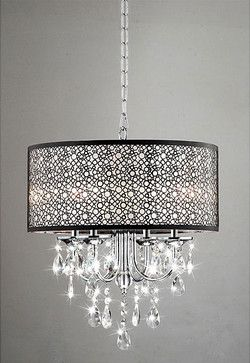 Indoor 4-Light Chrome/Crystal/Metal Bubble Shade Chandelier - contemporary - chandeliers - - by Overstock