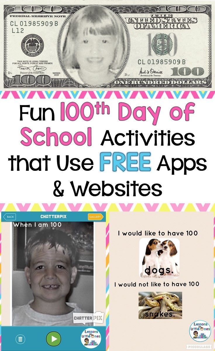 Fun activities for the 100th day of school that use FREE apps and websites such as Pic Collage (Pic Kids), Chatter Pix Kids, AgingBooth, & more.