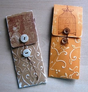 Cute Gift...Design and embellish wee packets... Tutorial for an Emery Board Holder from Sherry's Simple Blog...love the detailing on the tutorial...these would make great holders for pens and pencils, too!
