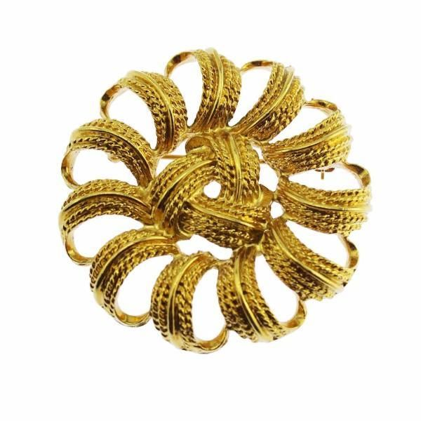Large Monet Gold Circle Brooch