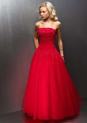 pictures of beautiful strapless red prom dresses