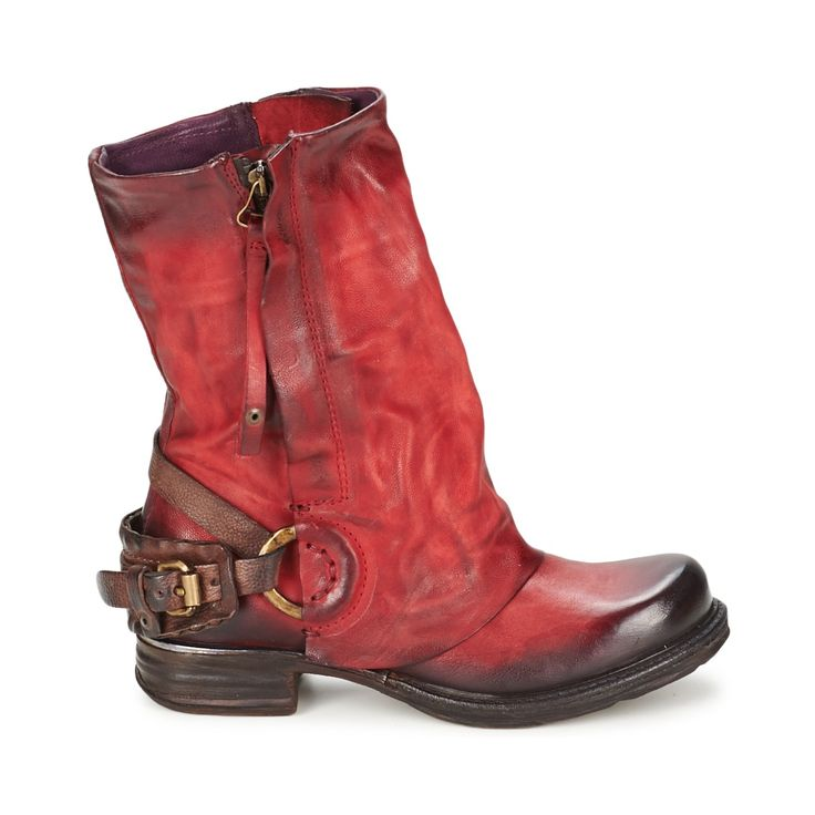 Mid boots Airstep / A.S.98 SAINT METAL FRONT Red - Free Next Day Delivery with Rubbersole.co.uk ! - Shoes Women £ 172.43
