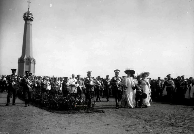 THE IMPERIAL FAMILY AT BORODINO, 1912  Borodino, 26 August 1912 - Emperor Nicholas II, Empress Alexandra, Tsarevich Alexei, Grand Duchess Olga Nikolaevna, Minister of the Imperial Court Baron V. B. Frederiks passes on the field of Borodino, after the consecration of the monument to the Battle of Borodino during the days of celebrations to mark the 100th anniversary of the Patriotic War of 1812.