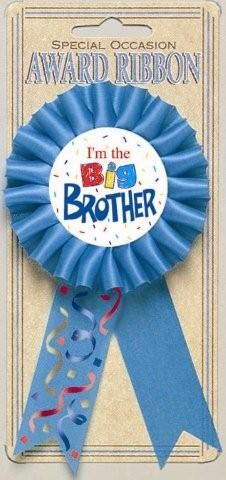 "Adorned in Bright Blue Ribbon, this Big Brother Award Ribbon says ""I'm the Big Brother.""  1 per package.  3"" wide, by 6"" tall (including ribbon)."