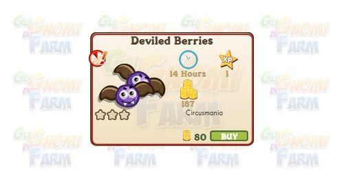 Nuova coltivazione a Ed. Limitata disponibile nel Market fino al 17/01/2016: Deviled Berries  Nuova coltivazione a Edizione Limitata disponibile nel Market nel Market dal 18/11/2015 fino al 17/01/2016  Deviled Berries  Livello minimo: 5  Matura in: 14 ore  Costa: 80 Coins  Fa guadagnare 1 XP  Rende: 187 Coins  Mastery: 600 / 600 / 600 (tot. 1.800)