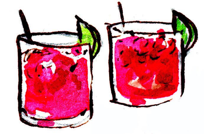 Rhubarb Cherry Blossom with Rhubarb tea, cherry lemonade, honey, club soda, lime, and cherries (of course)!