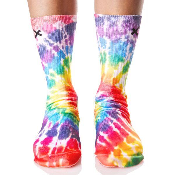 Odd Sox OG Tie Dye Socks ($15) ❤ liked on Polyvore featuring intimates, hosiery, socks, patterned socks, rainbow socks, tie-dye socks, tie dyed socks and arch support socks