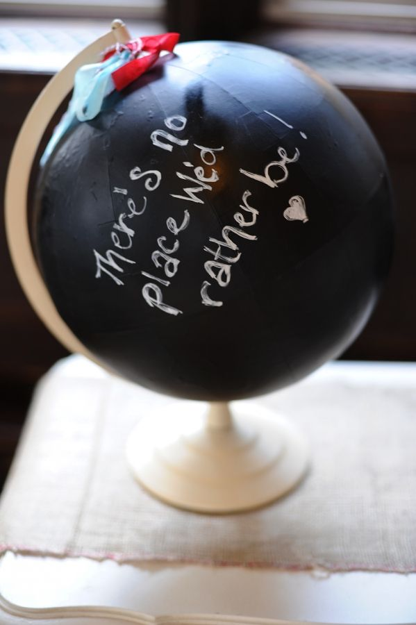 An old globe. Paint it (almost) all black. Imagine this, with the HEART left unpainted to allow your town or state to show.