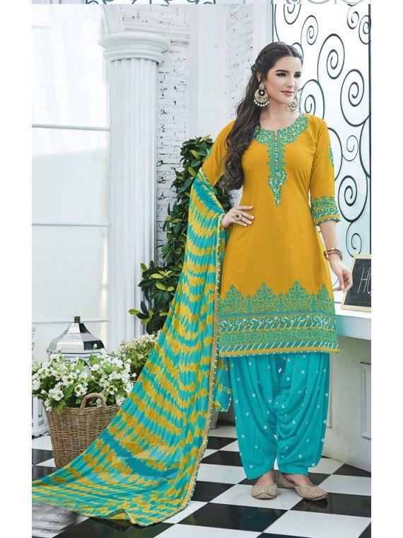 Artistic Rust Yellow and Sky Blue Patiala Salwar Kameez