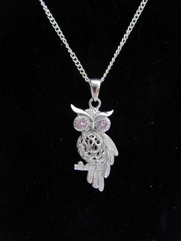 Silver plated Owl pendant with mauve crystal chaton eyes