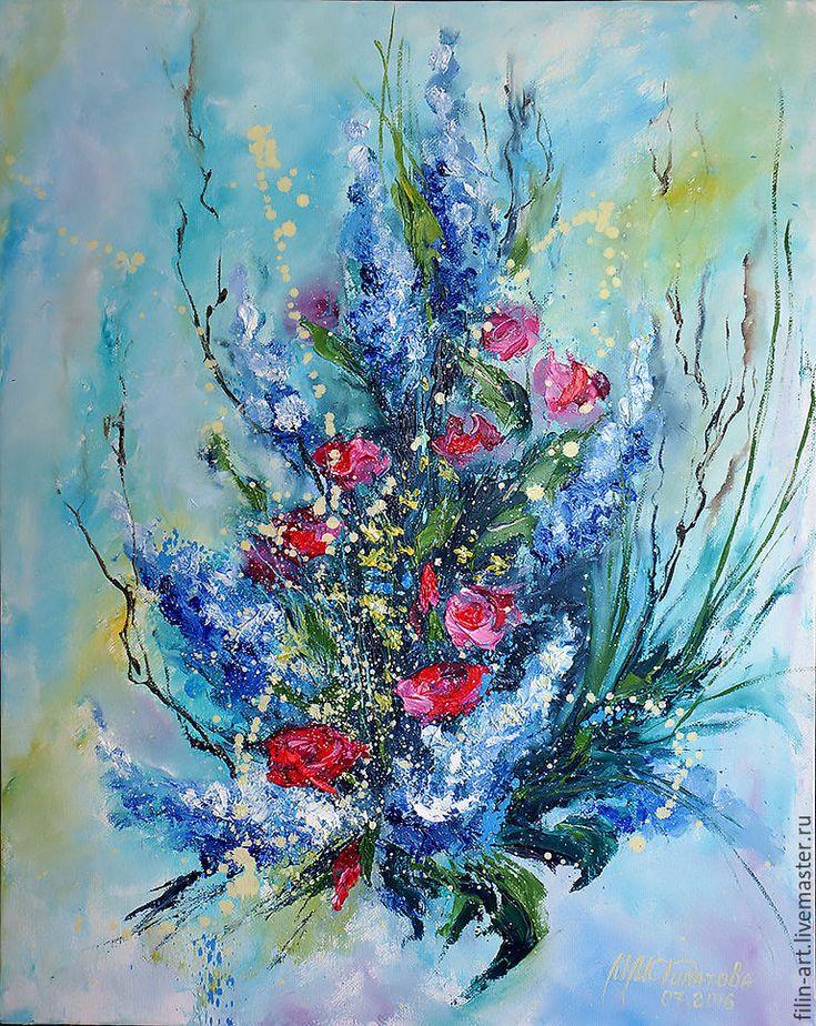 """Цветы Картина маслом - """"Капельки романтики"""" - синий, картина маслом цветы, картины маслом магазин, авторская живопись маслом, живопись маслом купить, красивая живопись маслом, арт живопись, цветочная живопись, картина купить минск, эксклюзив декор, филатова, голубой, желтый, красный, ярко-красный, букет, розы, карттина для интерьера, красивая картина маслом, картина маслом с цветами"""
