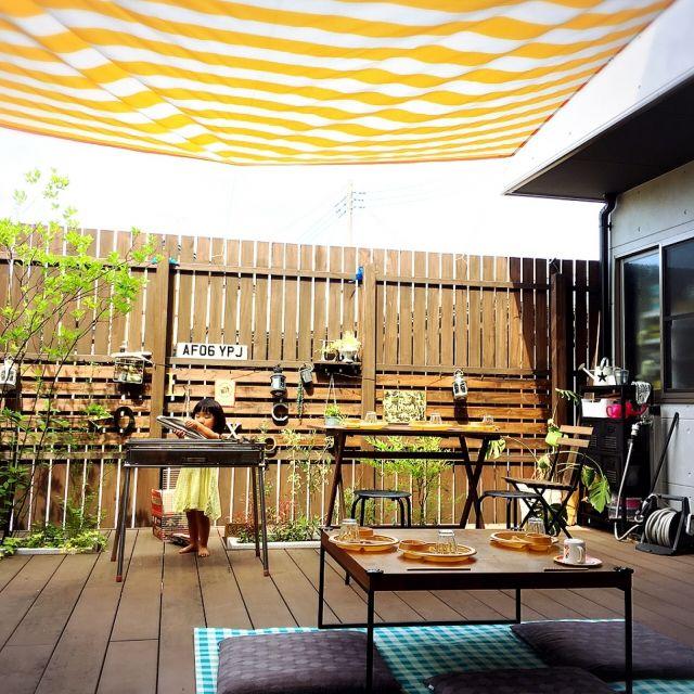 sachiさんの、IKEA,ストライプ,ウッドデッキ,バーベキュー,アウトドア,ストライプ柄,植物,玄関/入り口,のお部屋写真