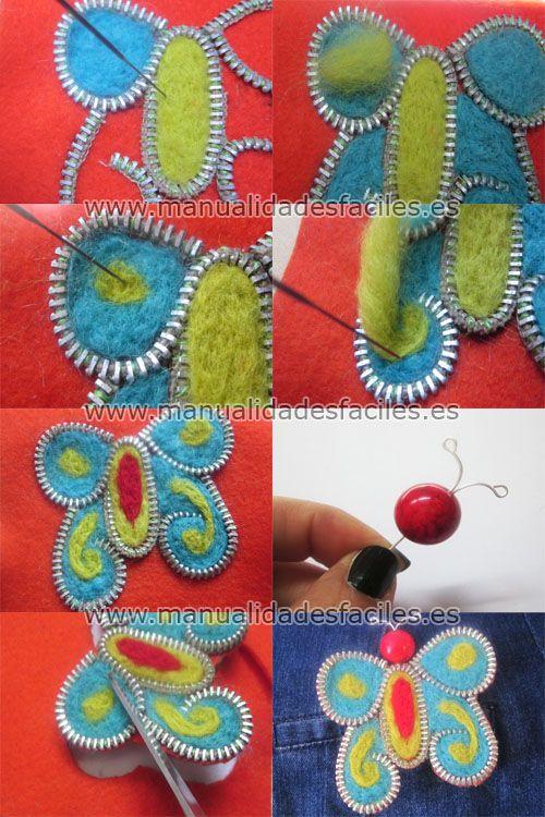 Tutorial 2: Felted zipper jewelry aka tuto2-mariposa-enfieltrada