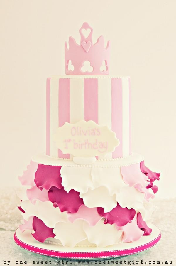 pink birthday cake, like in particular the buttom tier with the assorted ruffled leaves. By https://www.facebook.com/pages/One-Sweet-Girl/211664615553042?ref=stream