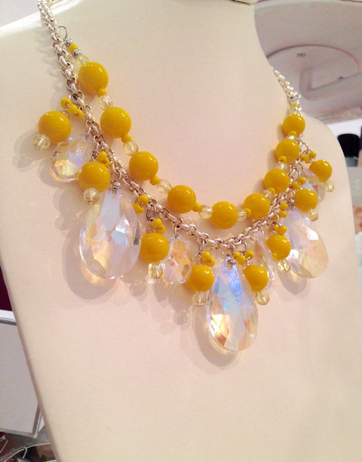 Teardrop crystal and sunshine yellow statement necklace by cheriebeadle on Etsy https://www.etsy.com/listing/223414434/teardrop-crystal-and-sunshine-yellow