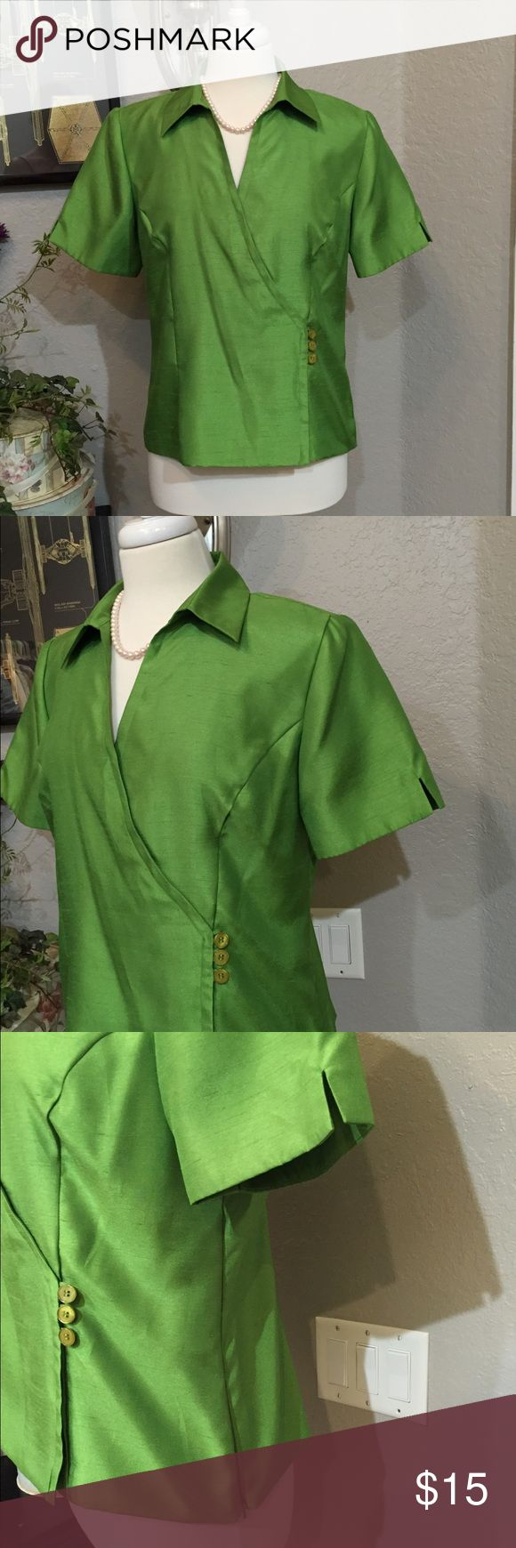 Sag Harbor Green Top Faux Jacket Size 10  100% polyester, fabric has kind of a shine to it. Jacket has a side zipper and buttons are for decoration. Like new condition. Sag Harbor Tops