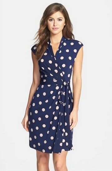 polka dot jersey faux wrap dress