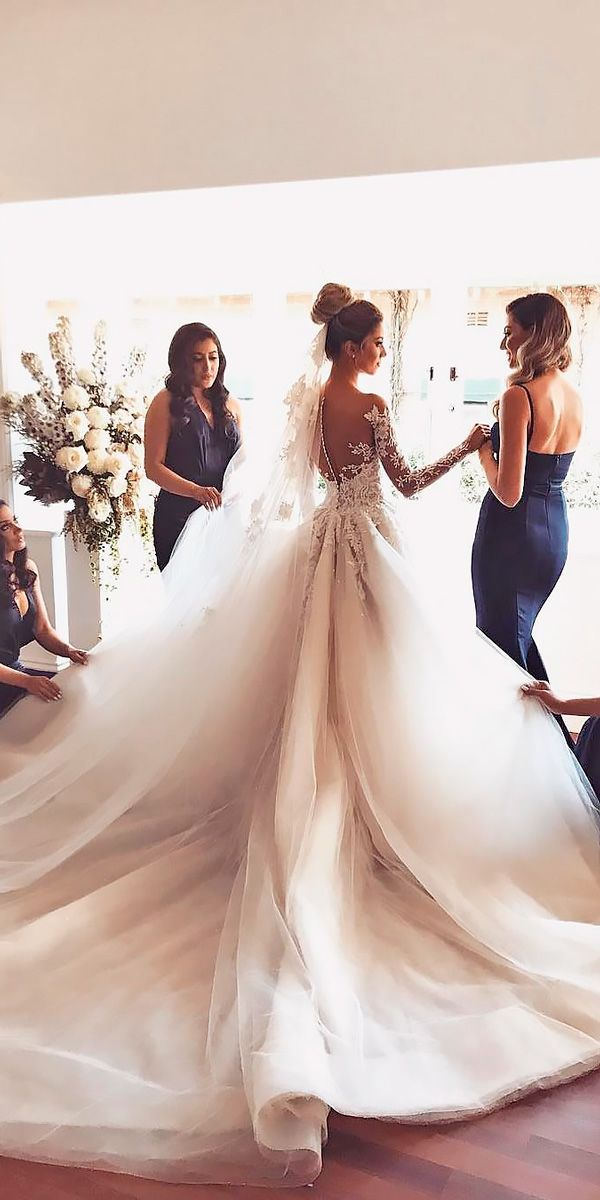 18 Princess Wedding Dresses For Fairy Tale Celebration ❤️ princess wedding dresses ball gown lace long sleeves illusion back george elsissa ❤️ Full gallery: https://weddingdressesguide.com/princess-wedding-dresses/ #bride #wedding #bridalgown
